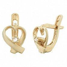 Серебряные cерьги с позолотой и фианитами Оригинальные сердечки