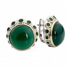 Серебряные серьги с зеленым агатом и золотом Джерда