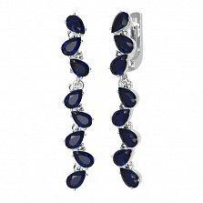 Серебряные серьги-подвески Яра с наносапфирами и фианитами