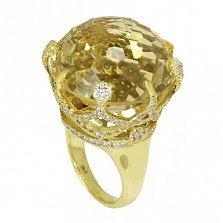 Золотое кольцо Вайнона с кастом-короной, цитрином и фианитами