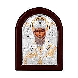 Икона Николай Чудотворец с серебром и позолотой в деревянной рамке 000140130