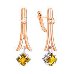 Злотые серьги-подвески в комбинированном цвете с цитринами и цирконием 000137712