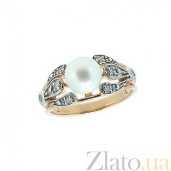 Золотое кольцо в красном цвете с бриллиантами и жемчугом Голуба ZMX--RDP-6728_K