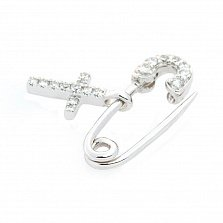 Булавка из белого золота Крестик с бриллиантами