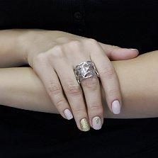 Серебряное кольцо Мягкие овалы с широкой фантазийной шинкой и белыми фианитами