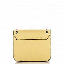 Кожаный клатч Genuine Leather 1530 желтого цвета с механическим замком и перфорацией