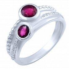 Серебряное кольцо Мгелика с рубинами