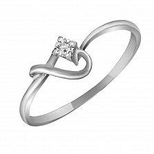 Кольцо из белого золота Взаимность с бриллиантом