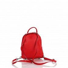 Кожаный рюкзак Genuine Leather 8002 красного цвета с накладаным карманом на молнии