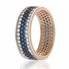 Серебряное кольцо Энрика с позолотой, синими и белыми фианитами