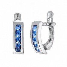 Серьги из серебра с голубыми фианитами Дублин