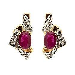 Серьги из красного золота с рубинами и бриллиантами Рокайль