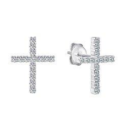 Серебряные серьги-пуссеты Крестики с фианитами 000088742