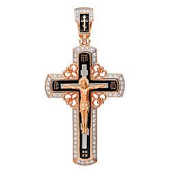 Золотой крест с ювелирной эмалью Мой Спаситель 000012346