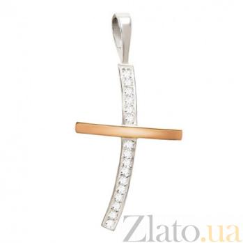 Серебряный крестик с золотой вставкой и фианитами Сияние BGS--10П