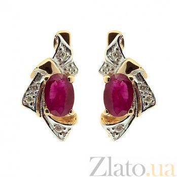 Серьги из красного золота с рубинами и бриллиантами Рокайль ZMX--BLR-1045_K