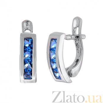 Серьги из серебра с голубыми фианитами Дублин SLX--С2ФЛТ/100