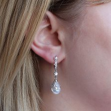 Серебряные серьги-подвески Лавиния с белым жемчугом и фианитами
