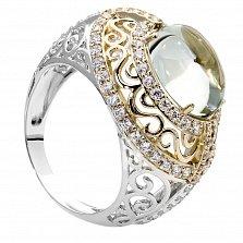 Серебряное кольцо с золотыми вставками и зеленым кварцем Сусанна