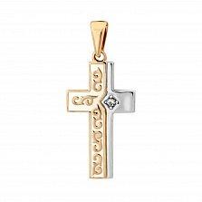 Золотой крестик Духовный мир в комбинированном цвете с бриллиантом и белой эмалью