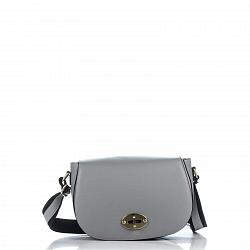 Кожаная сумка на каждый день Genuine Leather 3275 серого цвета на клапане с поворотным механизмом