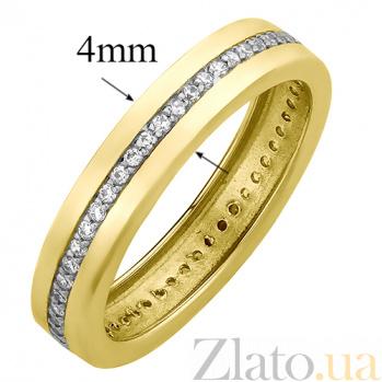 Обручальное кольцо в желтом золоте Гортензия с фианитами 000023503