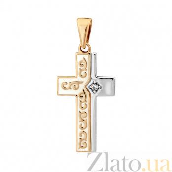 Золотой крестик Духовный мир в комбинированном цвете с бриллиантом и белой эмалью VLA--35730