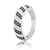 Серебряное кольцо с черными фианитами Ирмгард