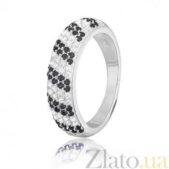 Серебряное кольцо с черными фианитами Ирмгард 000028148