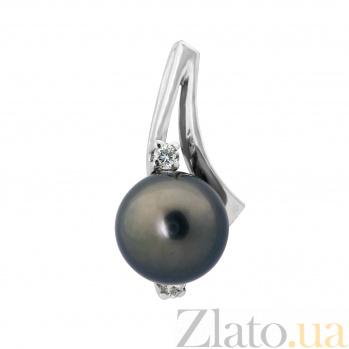 Кулон из белого золота Амелия с черным жемчугом и бриллиантами VLA--31529