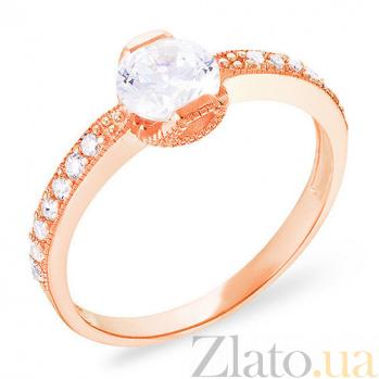 Золотое кольцо с цирконием Нежность сердца SUF--140398