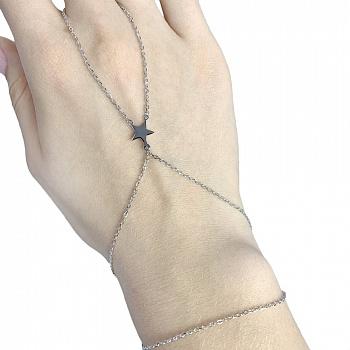 Серебряный браслет-слейв Звезда в стиле минимализм