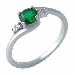 Серебряное кольцо с синтезированным изумрудом, фианитами и родированием 000128828