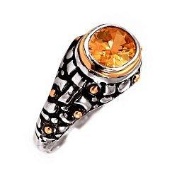 Кольцо из серебра Sett с коньячным цирконием, золотыми вставками и чернением 000091454