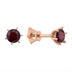 Серьги-пуссеты из красного золота с гранатами 000106004