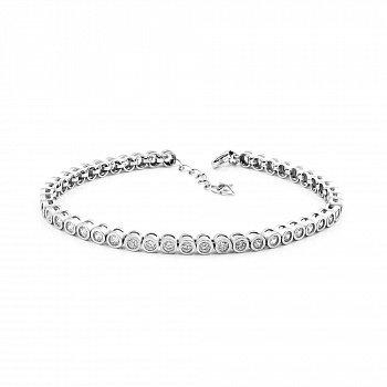 Срібний браслет з завальцьованими фіанітами і додатковими ланками 000114343