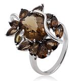 Серебряное кольцо с раухтопазами Баронесса