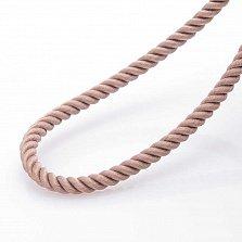 Шелковый бежевый шнурок Ассир с серебряной застежкой, 3мм