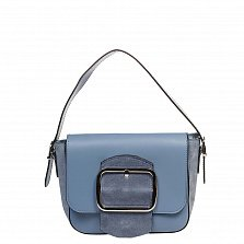 Кожаный клатч 6563 в голубом цвете с короткой ручкой, ремнем на плечо и декоративной пряжкой