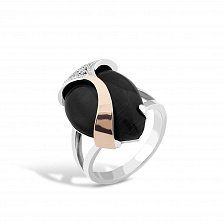 Серебряное кольцо Корделия с золотой накладкой, имитацией оникса и фианитами