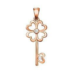 Кулон-ключик из красного золота с фианитами 000117410
