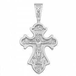 Серебряный родированный крестик Небесный дар резной формы