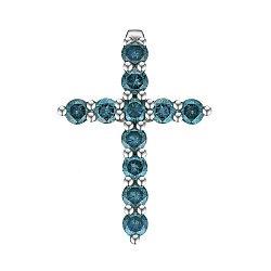 Крестик из белого золота с голубыми бриллиантами 0.78ct 000145322