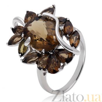 Серебряное кольцо с раухтопазами Баронесса 3К079-0149