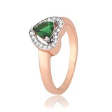 Позолоченное серебряное кольцо с зеленым фианитом Свет любви