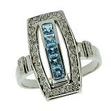 Серебряное кольцо с топазами и бриллиантами Сакварела