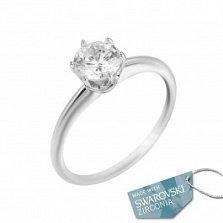 Кольцо из белого золота Анабелла с кристаллом Swarovski