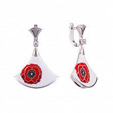 Серебряные серьги-подвески Грейс с цирконием, красной и белой эмалью