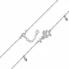 Серебряный браслет Птица с веточкой, подвесками и фианитами