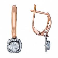 Золотые серьги-подвески Кристина с кристаллами Swarovski